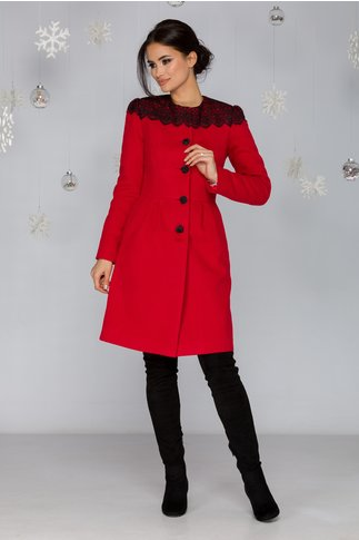 Palton LaDonna rosu in croi clos cu broderie neagra handmade