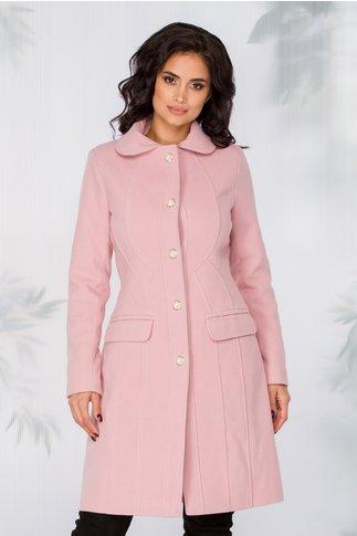 Palton LaDonna roz cu nasturi perlati