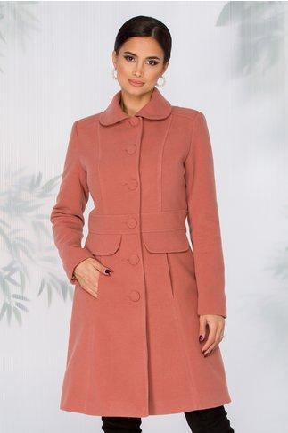 Palton LaDonna roz inchis cambrat in talie