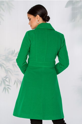 Palton LaDonna verde cambrat in talie