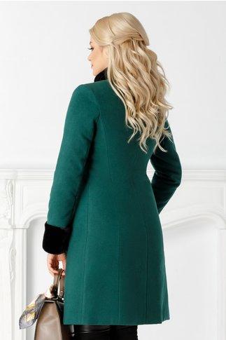 Palton LaDonna verde cu blanita si broderie