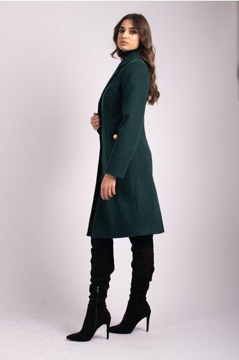 Palton LaDonna verde cu buzunare maxi