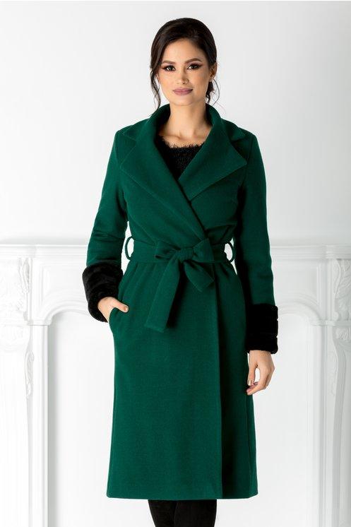 Palton LaDonna verde cu cordon in talie