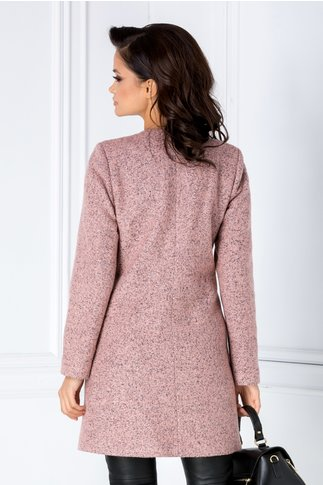 Palton Leonard Collection roz din lana