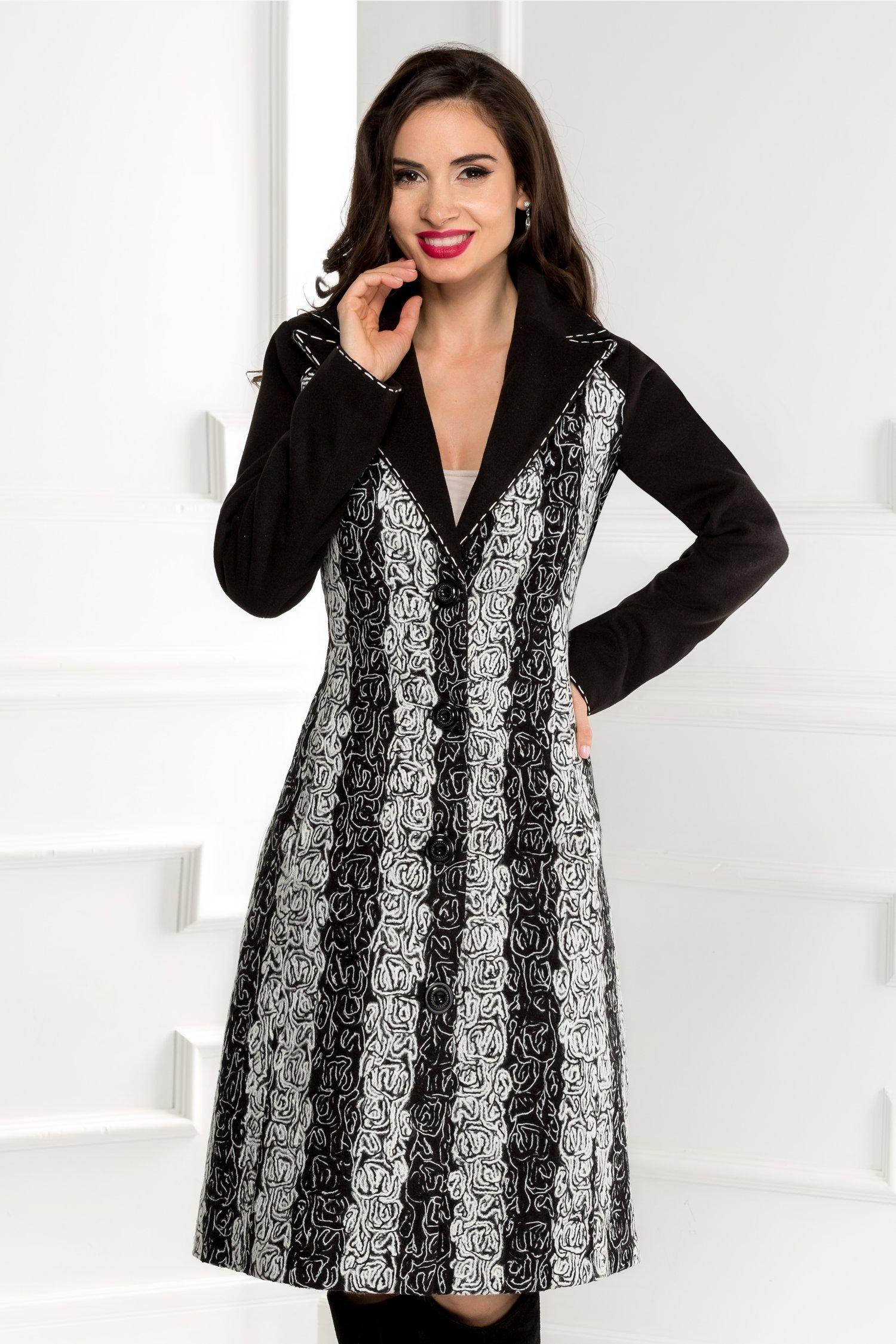 Palton lung negru cu gri elegant