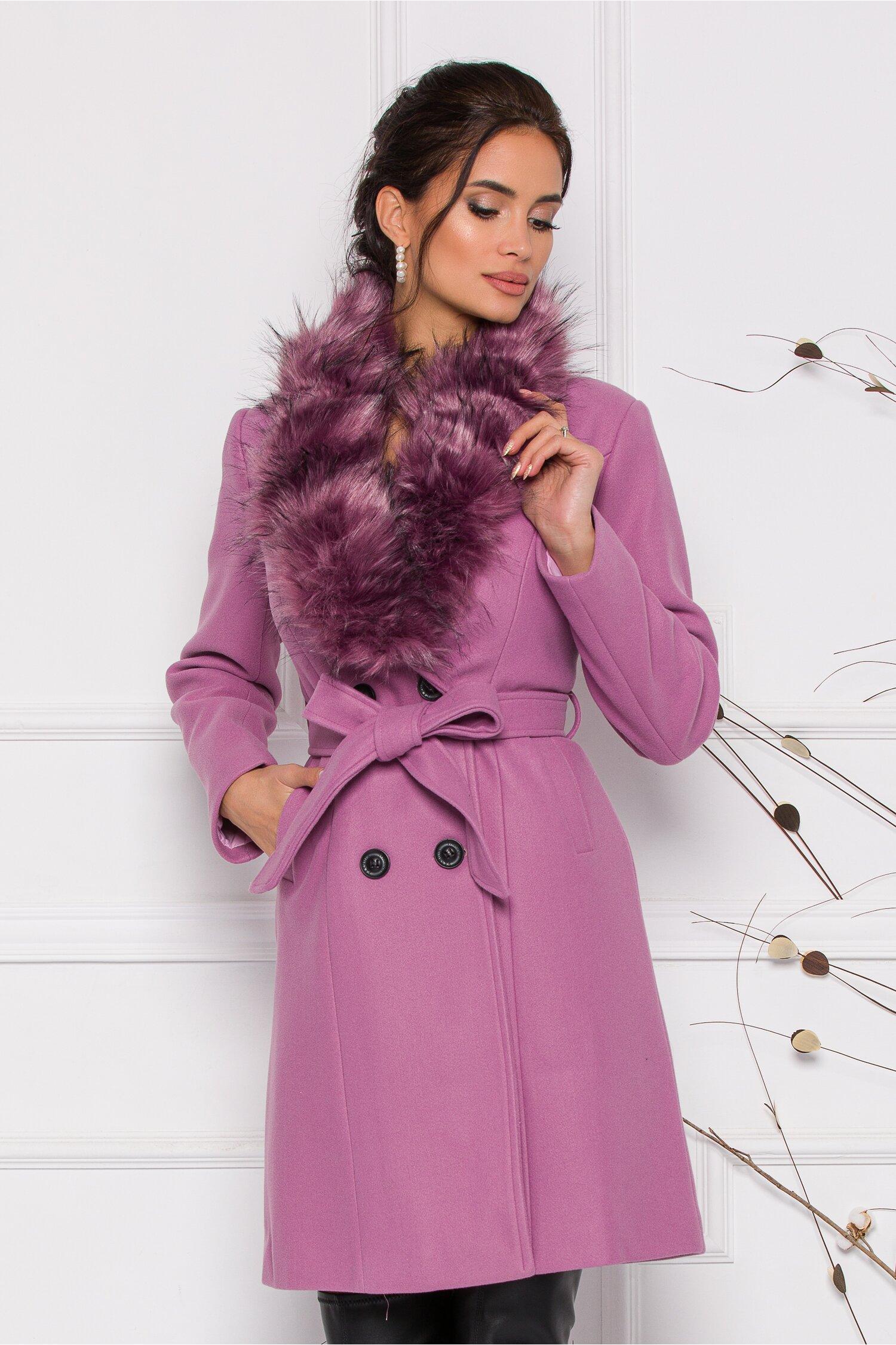 Palton MBG lila cu blanita la guler si inchidere prin nasturi si cordon in talie imagine