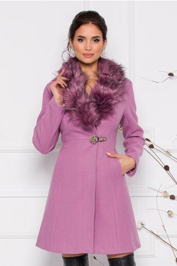 Palton MBG lila cu blanita la guler si sistem de inchidere tip clema accesorizata cu pietricele