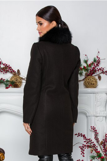 Palton Mella negru cu guler din blanita detasabila