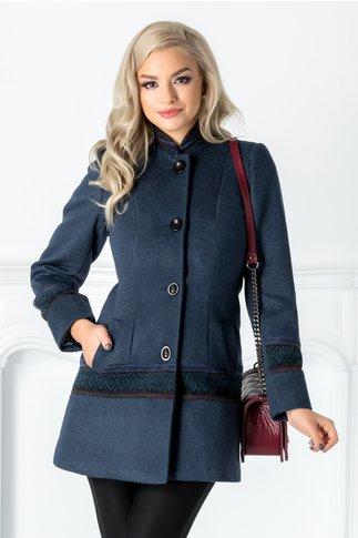 Palton Moze albastru cu model traditional