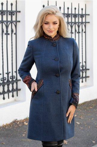Palton Moze albastru petrol cu guler tunica si aplicatii colorate