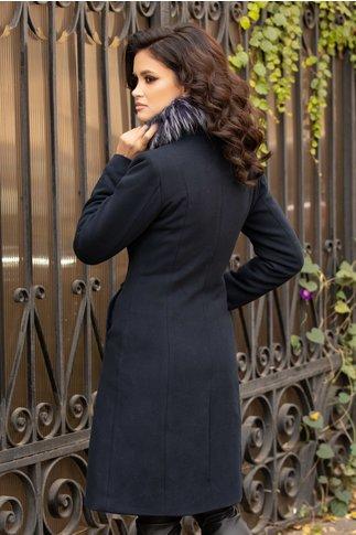 Palton Moze bleumarin cu blana naturala