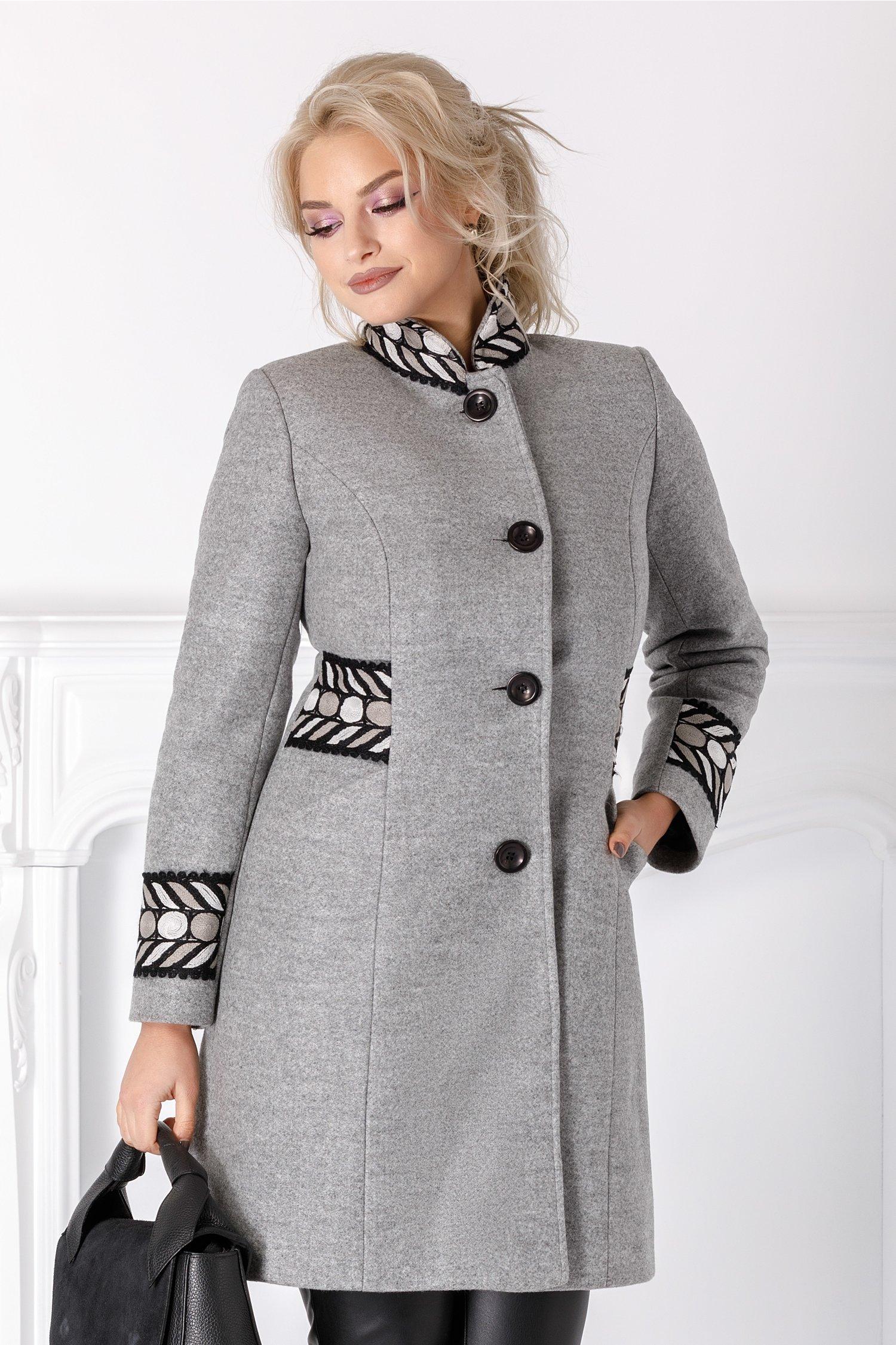 Palton Moze de iarna gri cu broderie