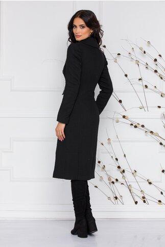 Palton Moze lung negru cu buzunare si doua randuri de nasturi