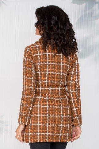 Palton Moze maro in carouri caramizii