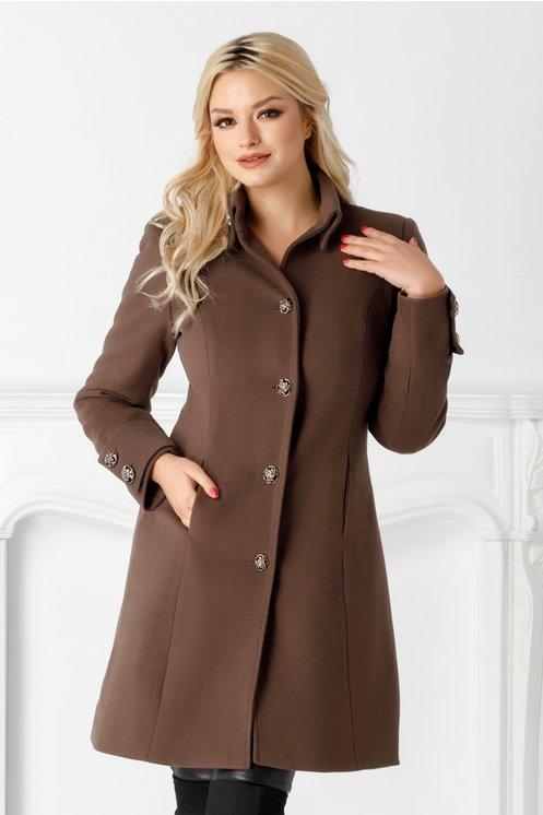 Palton Moze maro midi de iarna