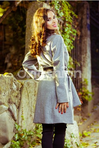 Palton Moze Midi Gri Elegant