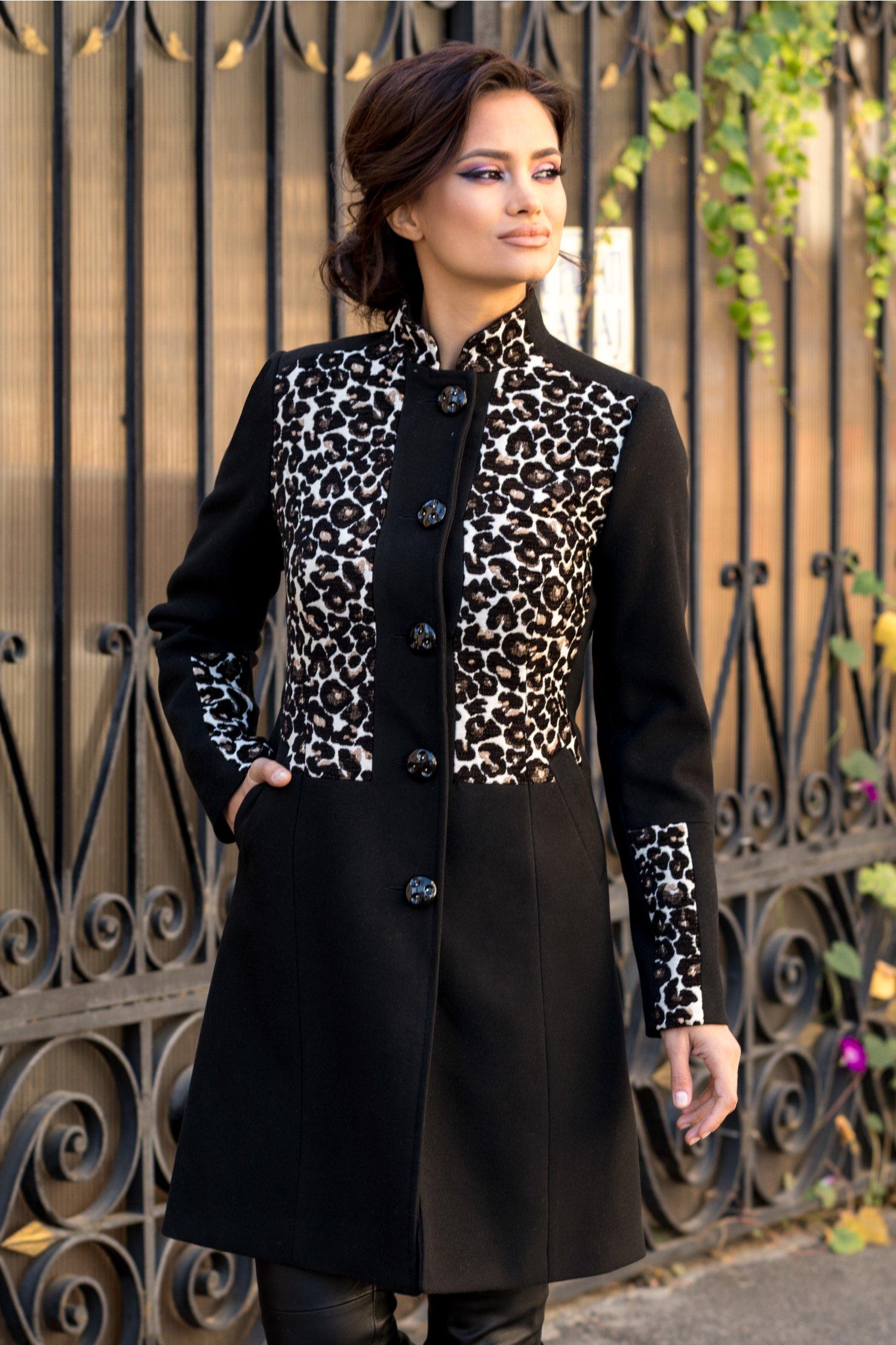 Palton Moze negru cu animal print