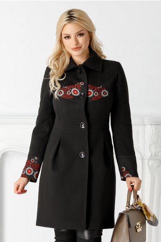 Palton Moze negru cu broderie florala