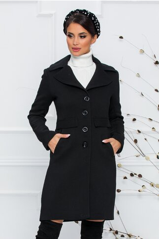 Palton Moze negru cu clapete aplicate