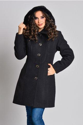 Palton Moze negru cu gluga cu blanita