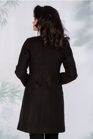 Palton Moze negru cu guler tip tunica