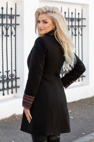 Palton Moze negru cu guler tunica si aplicatii colorate