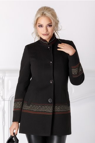 Palton Moze negru cu motive geometrice