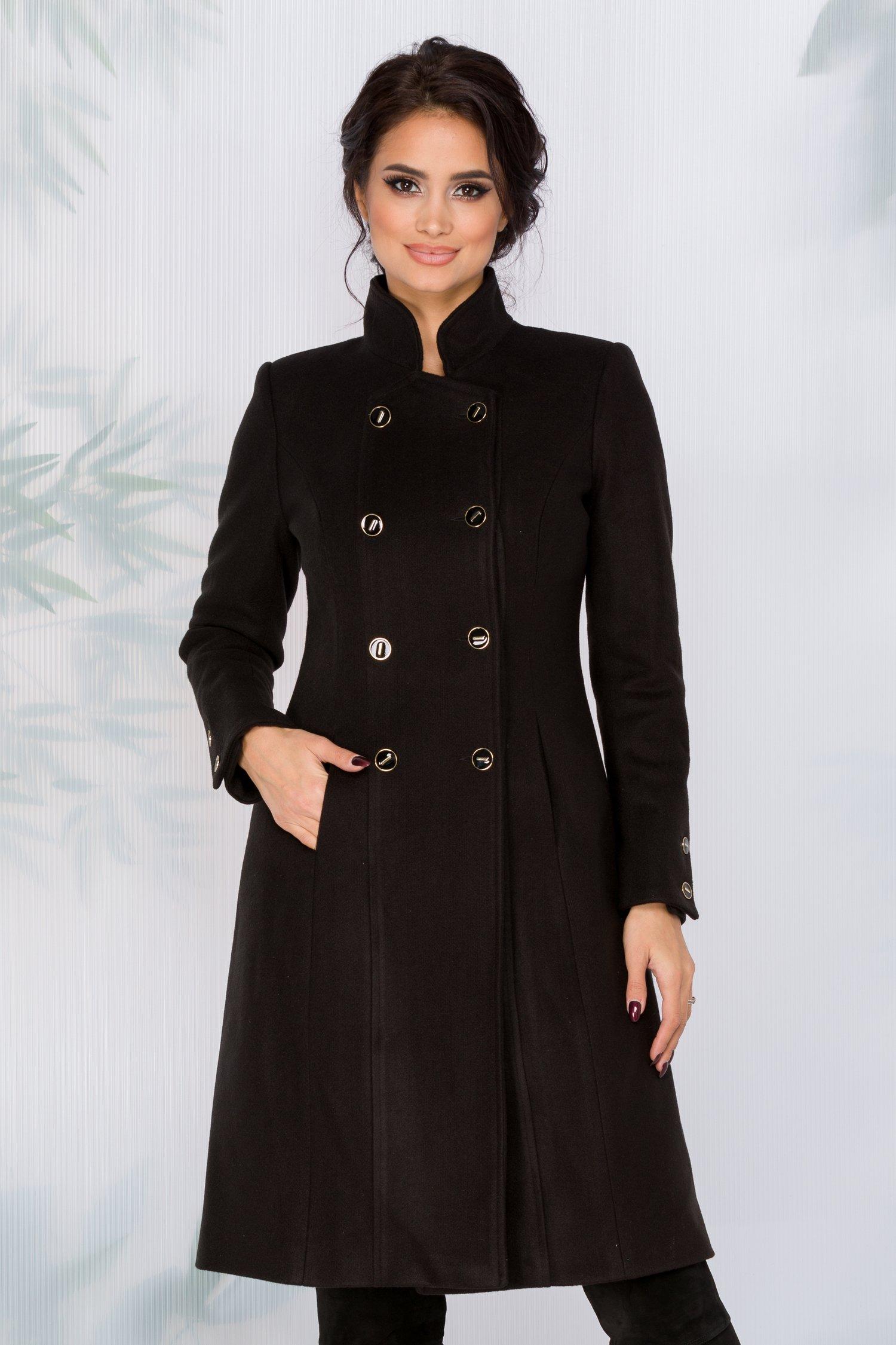 Palton Moze negru cu nasturi la maneci