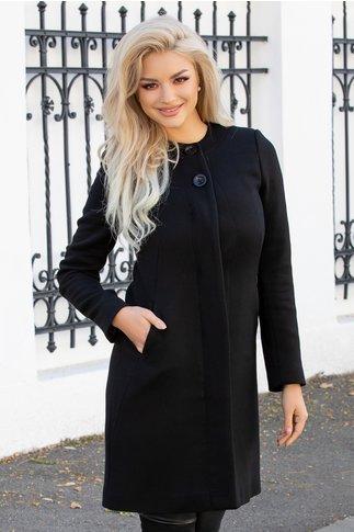 Palton Moze negru cu nasturi si capse