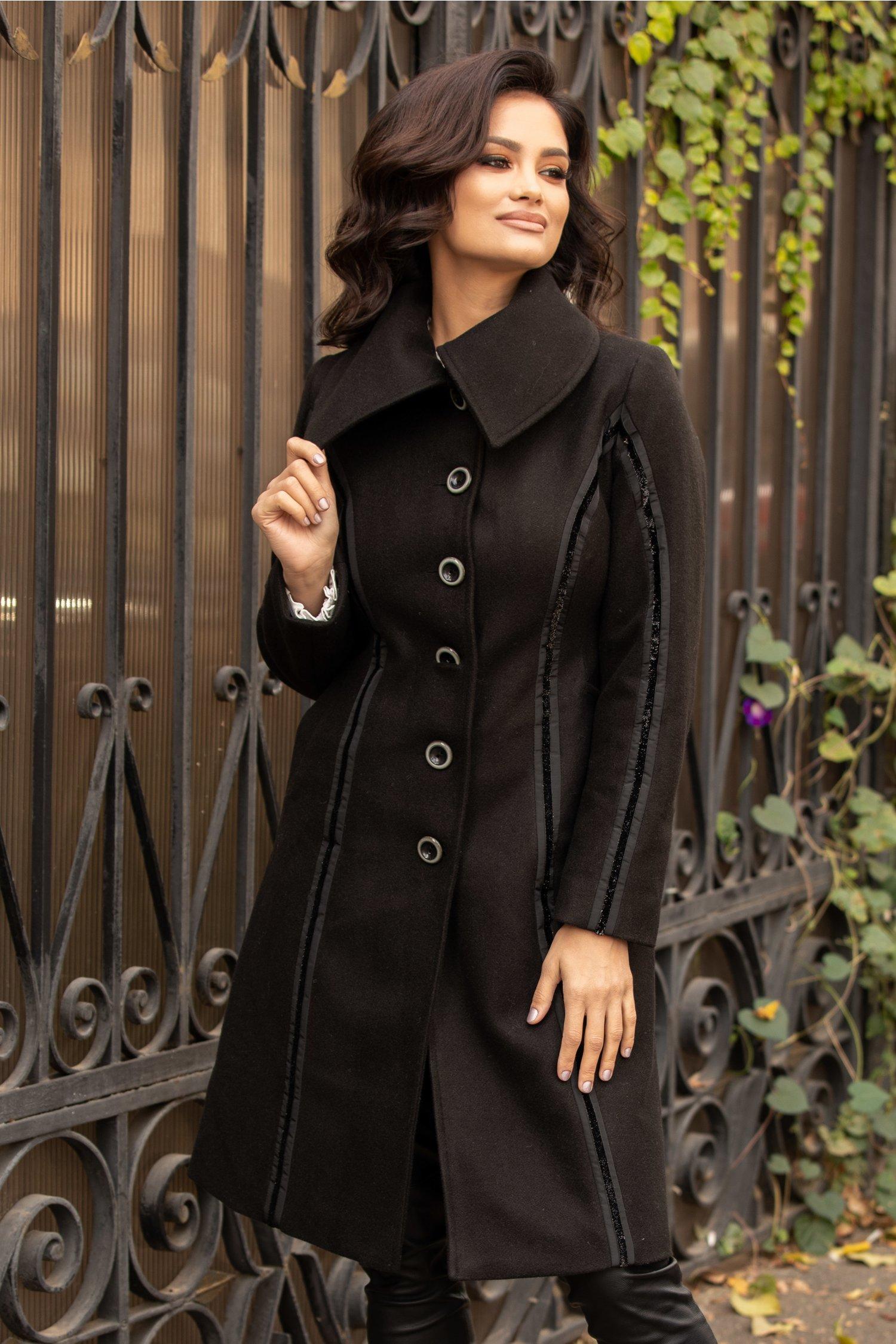 Palton Moze negru de ocazie cu benzi din sclipici
