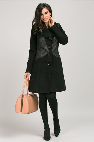Palton Moze negru din stofa si fas