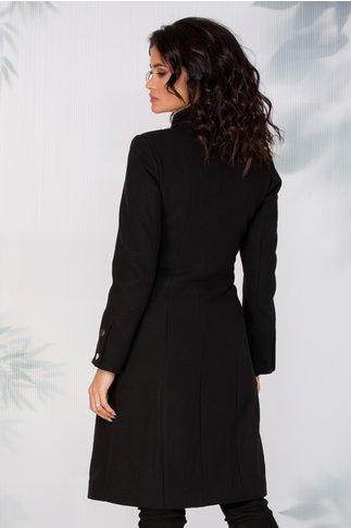 Palton Moze negru lung din stofa cu nasturi aurii