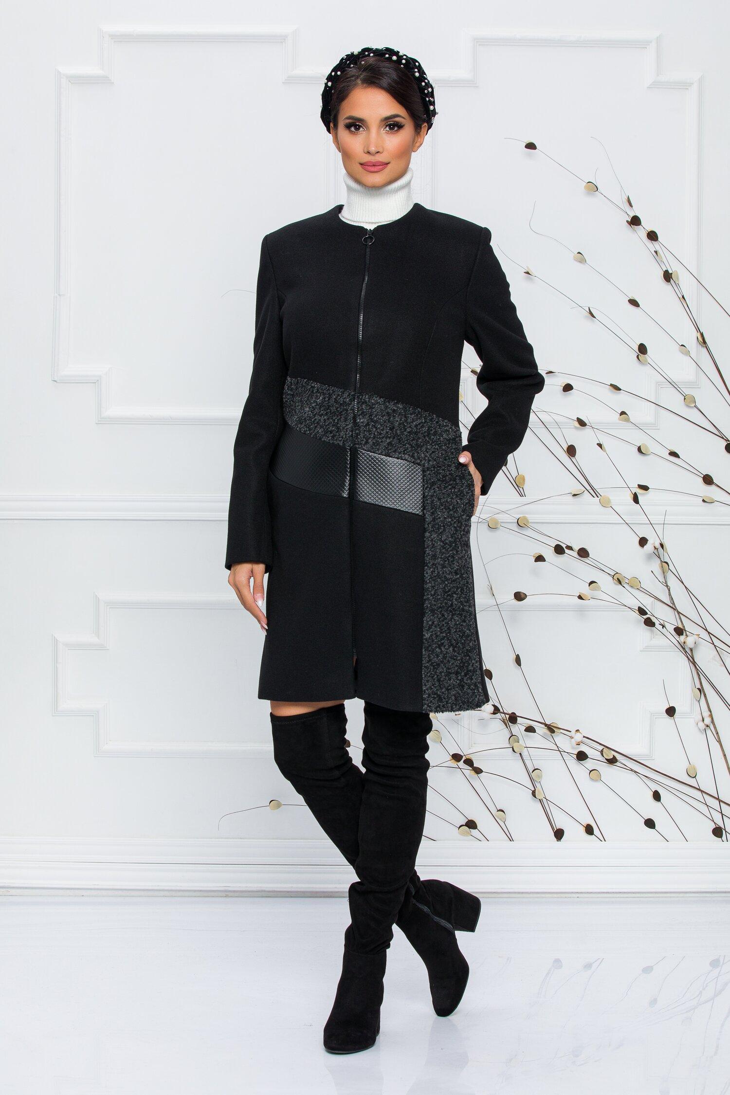 Palton negru decorat cu piele ecologica si lana imagine
