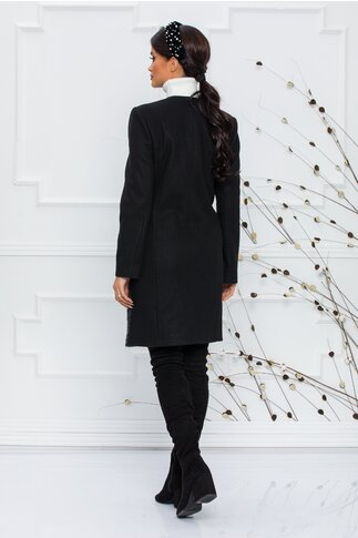 Palton negru decorat cu piele ecologica si lana