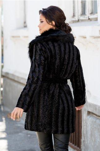 Palton negru din blanita ecologica