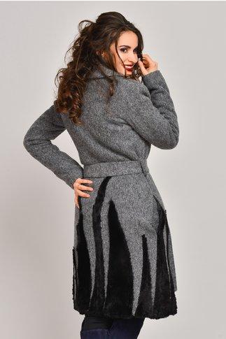 Palton Onida gri din lana cu blanita neagra