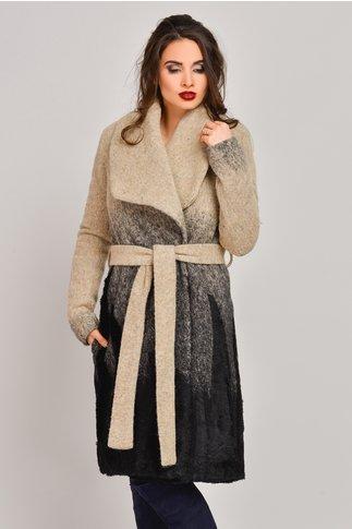 Palton Onida bej in degrade din lana cu blanita