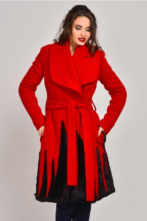 Palton Onida rosu din lana cu blanita