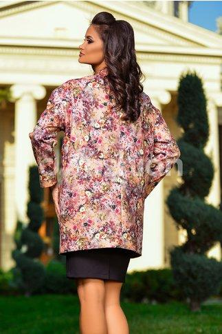 Palton Roz cu Imprimeuri Florale