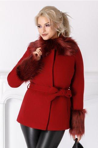 Palton scurt LaDonna bordo cu blanita