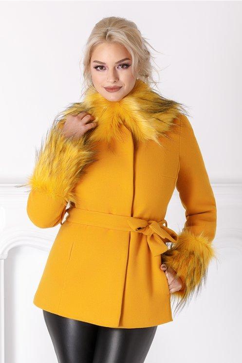 Palton scurt LaDonna galben mustar cu blanita