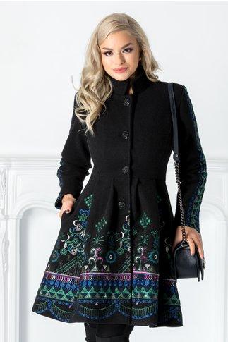 Palton Sofia negru din lana cu broderie