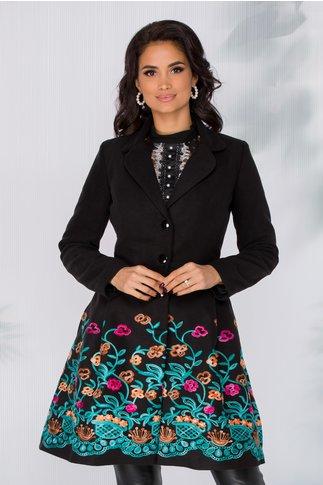 Palton Sonia negru cu broderie florala
