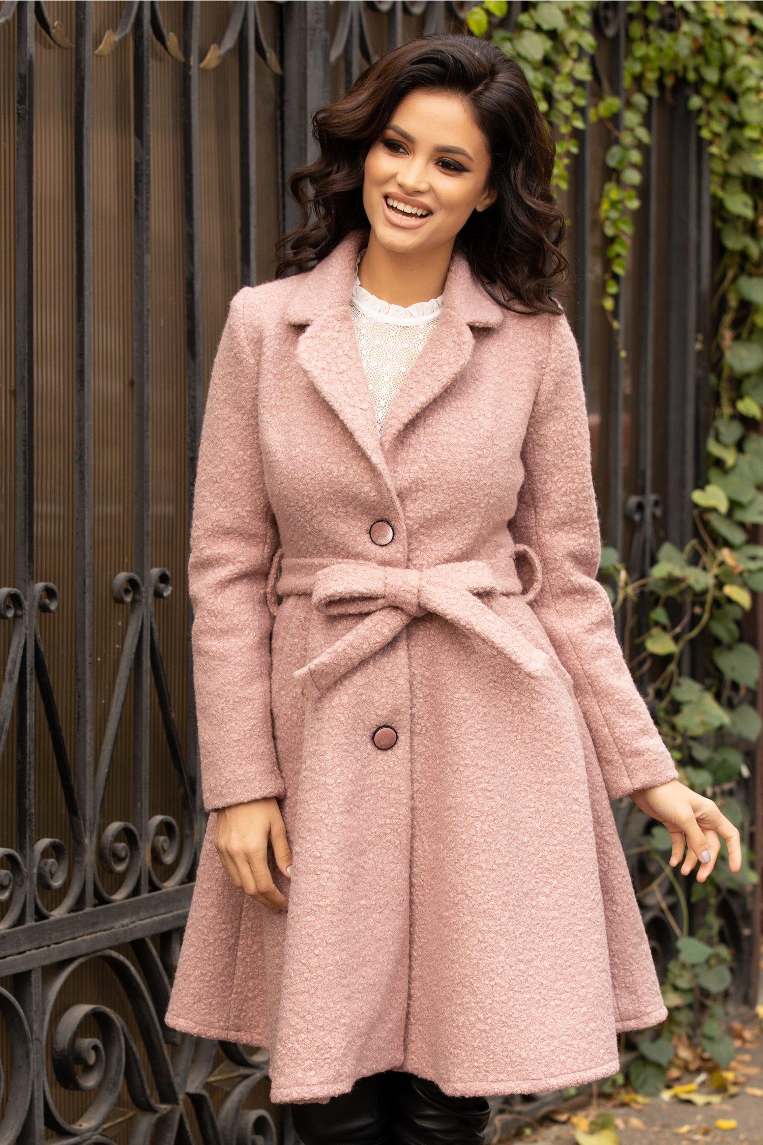 Palton Sonia roz pudrat evazat