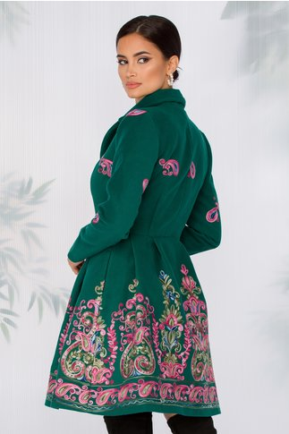 Palton Sonia verde cu broderie florala
