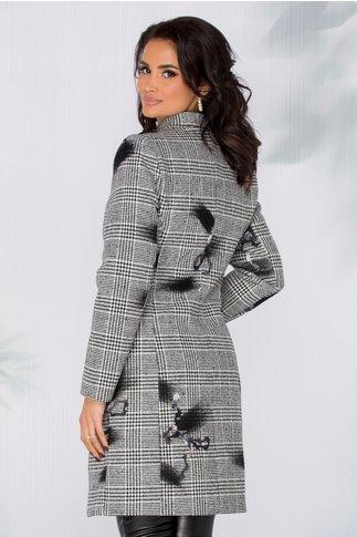 Palton Vanya cu imprimeu alb-negru