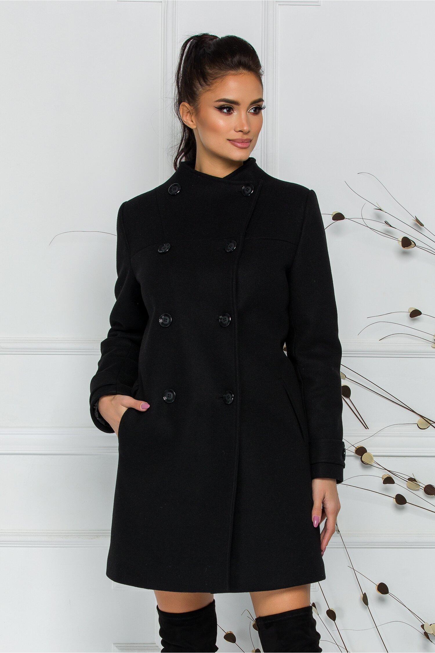 Palton Varys negru cu doua randuri de nasturi