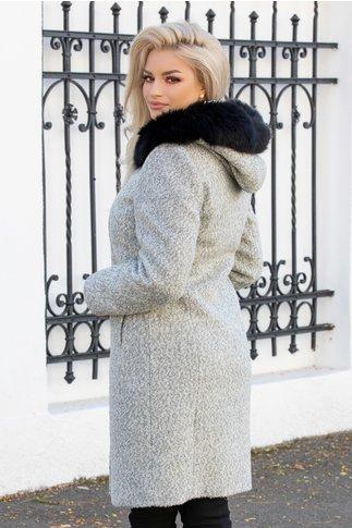Palton Victoria gri din lana cu gluga