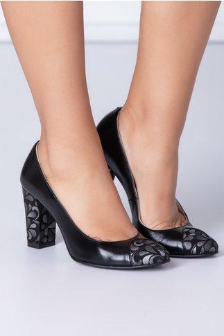 Pantofi dama negri cu motive florale gri