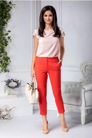 Pantalon Aby rosu office cu dunga